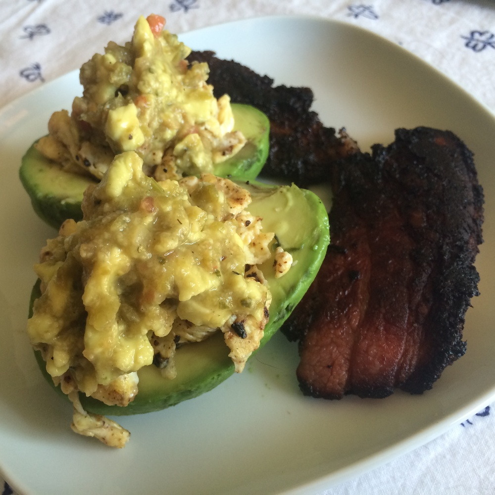What I Ate: Breakfast 8/10/15 - Egg stuffed avocado