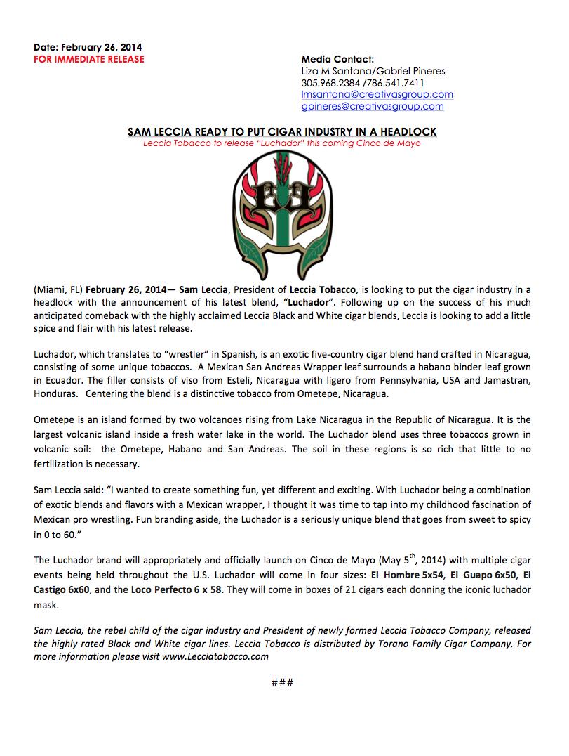 Luchador Press Release