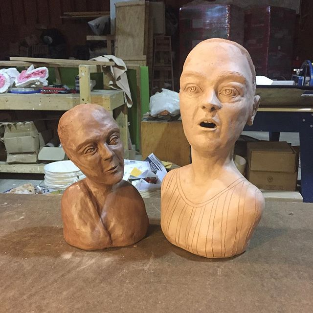 Just a couple of creeps waiting on hair 💁‍♀️ . . . . . . . #figurativeart #mixedmedia #creeps #greenware