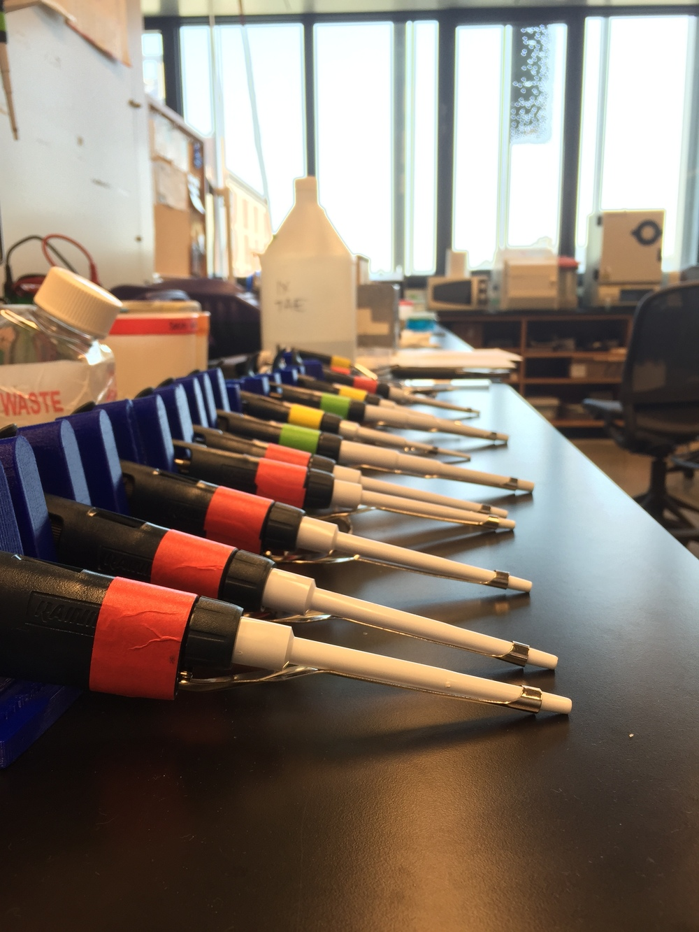 Pipets in a line