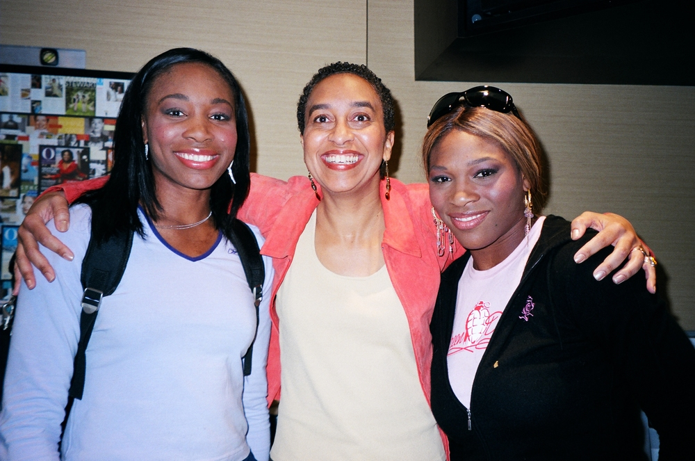 "With Venus and Serena Williams in the ""green room"" at  The Oprah Winfrey Show.  Clearly I was the more excited of the three."