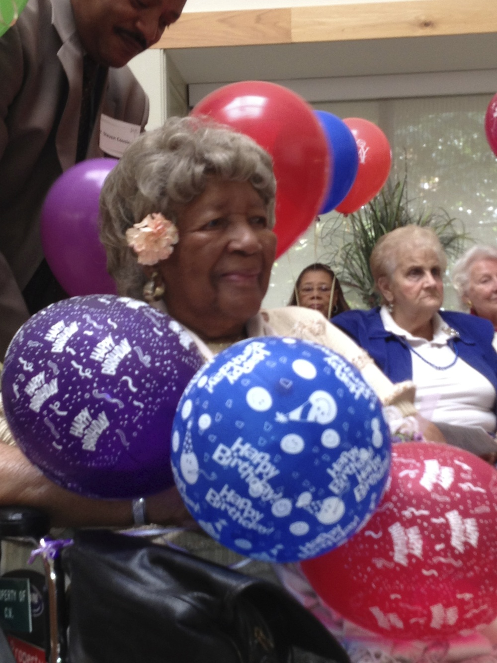 My dear friend Mrs. Eula Cousins at her 109th birthday party. She passed away at age 110.