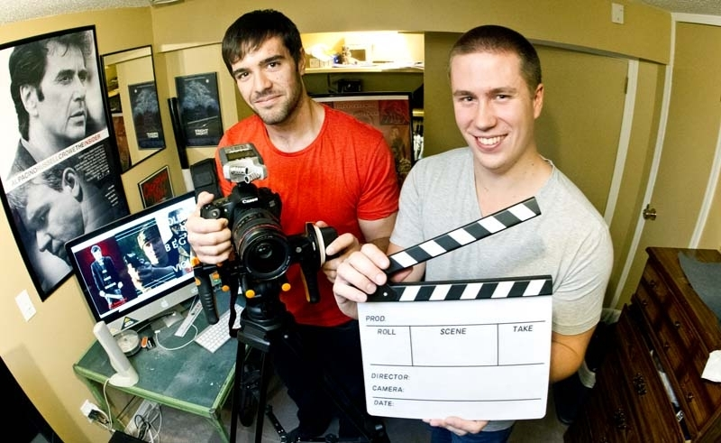 MOVIE MEN – Sam Reid, left, and Justin Kueber,  each 23, have started a filmmaking company called Guerrilla Motion  Pictures. They are nearing completion of editing on their first short  film project called The Immigrant: Revenge of El Diablo   Photo by: APRIL BARTLETT/St. Albert Gazette