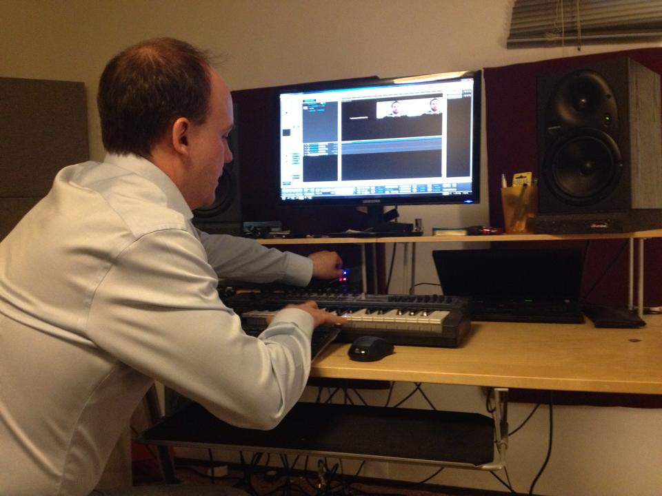 Composer Jason Medwid at work on The Path