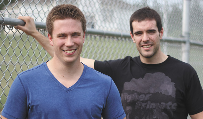 Justin Kueber (left) and Sam Reid are the founders of St. Albert's Guerrilla Motion Pictures and creators of the new web series People Watchers. (GLENN COOK, St. Albert Leader)
