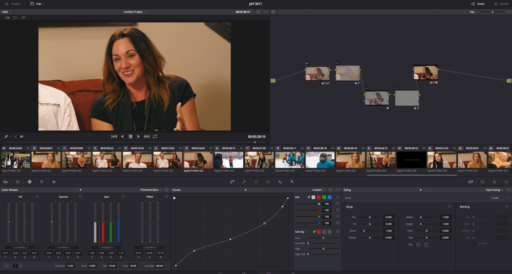 The DaVinci Resolve project timeline.