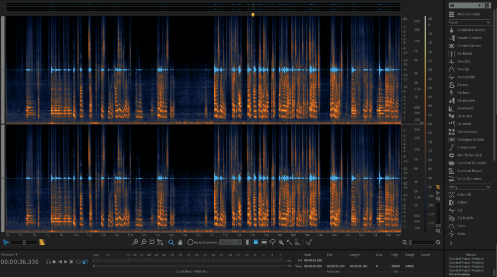 The iZotope RX 6 session for one of the kitchen scenes in Mommy and Me (2018)