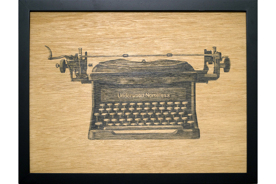 "Underwood Noiseless   graphite on wood 13""x17"" 2013"