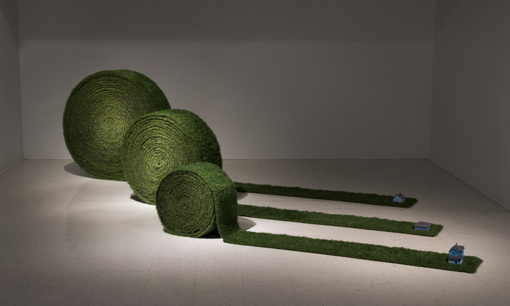 Turf Rolls, 2017 Artificial grass, wood, steel, paint, and tiny homes