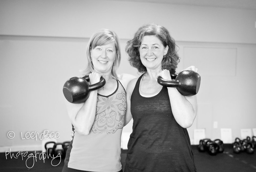 With member Shelly Reardon who has achieved success with kettlebells.