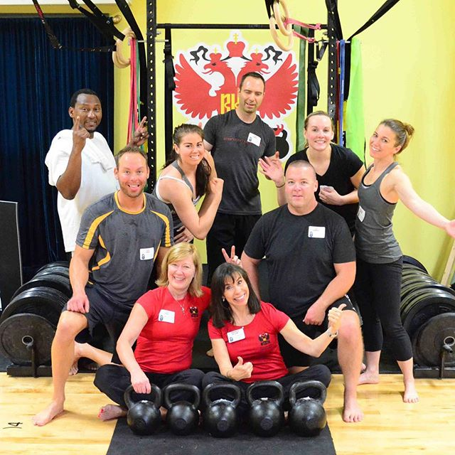 #HKC in Dublin, Ohio on Sat. We always do a goofy group photo. Congrats to all the newly certified trainers! #dragondoor #RKC #kettlebell