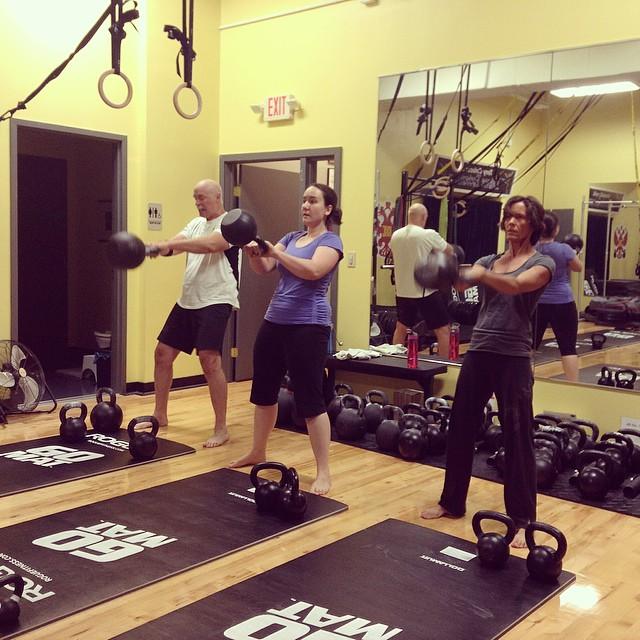 Heavy #Kettlebell swings energize us for the day! #RKC #dublinohio #dublinlife #strongisamindset #ohio