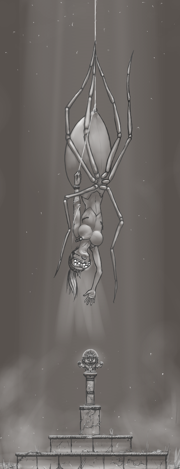 Monster Girl Challenge day 6 - Spider girl. Inspiration from Indiana Jones and Tomb Raider, with a bit of Splinter Cell on the side.