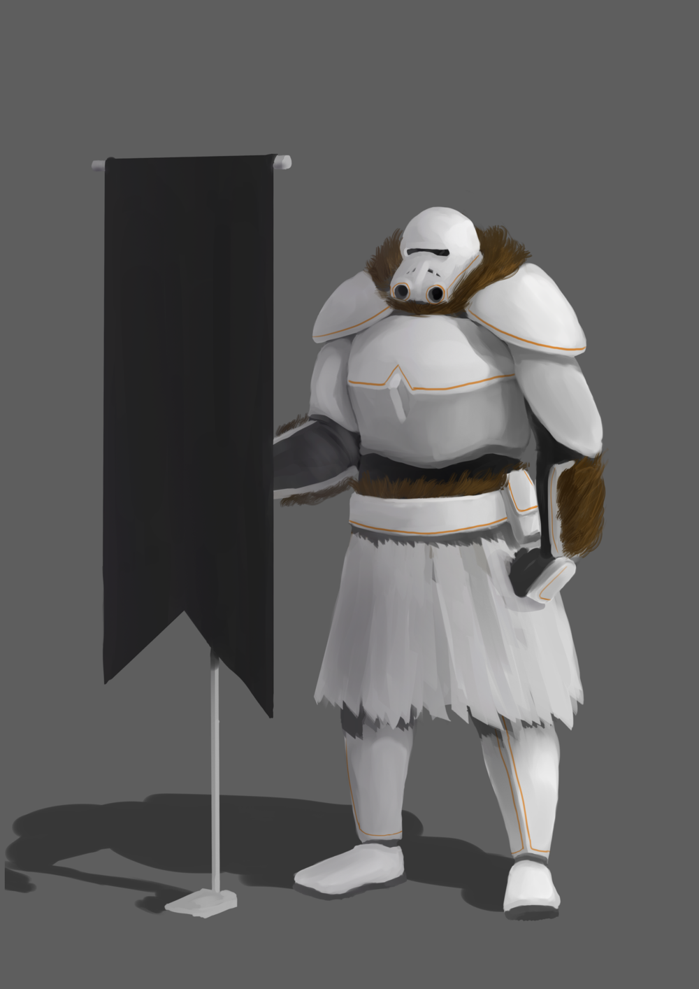 "Solution to character design challenge: Design a  Stormtrooper from Star Wars if it were ""max level"" in a video game sense, presuming the ones seen in the original trilogy are  level 1. Inspiration taken from Destiny which I was playing a lot at the time."