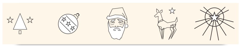 "Vector graphics for Christmas ""to/from _____"" cards."