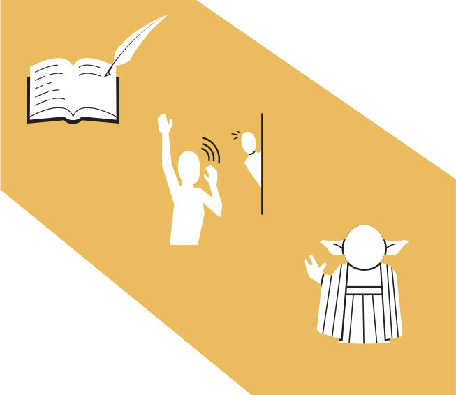 Flat icons/informative illustrations for a Welcome sign. From top: Sign in at the front desk; We will notify your room manager; Ask one of our friendly Jedi for help.