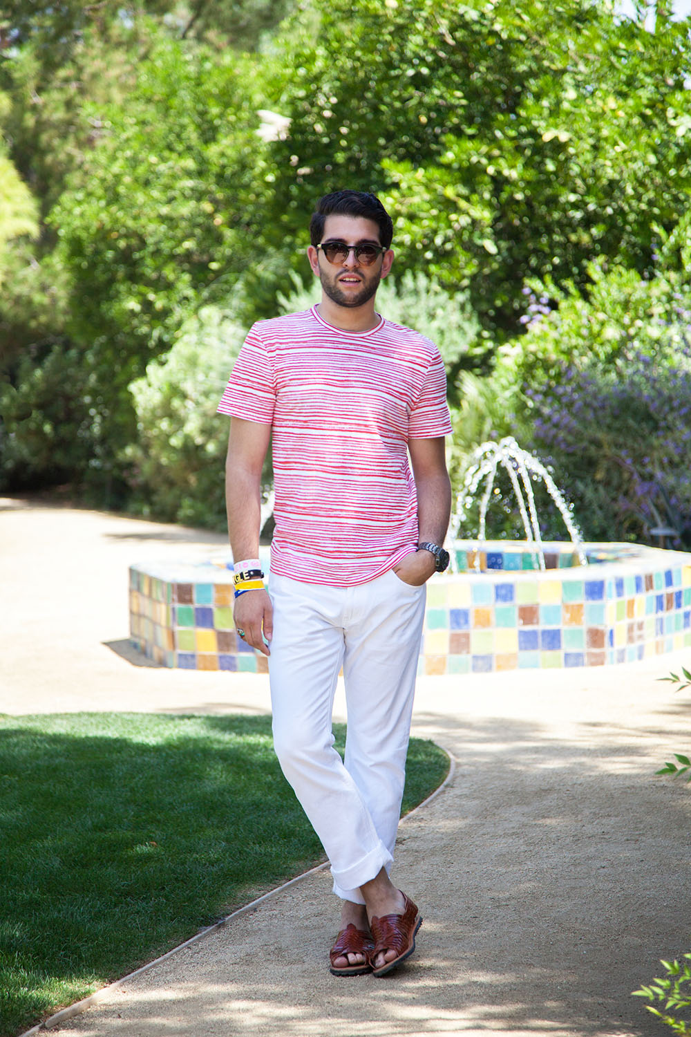 Quick snap outside the Harper's Bazaar Poolside Fête