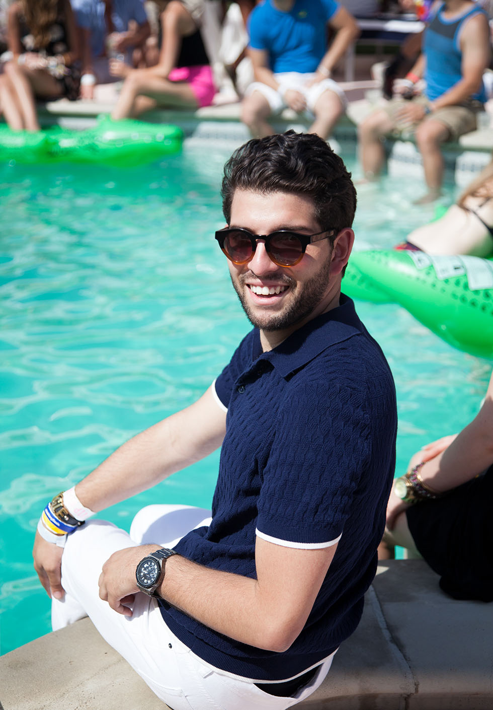 Avoiding heatstroke at the Lacoste L!VE desert pool party.