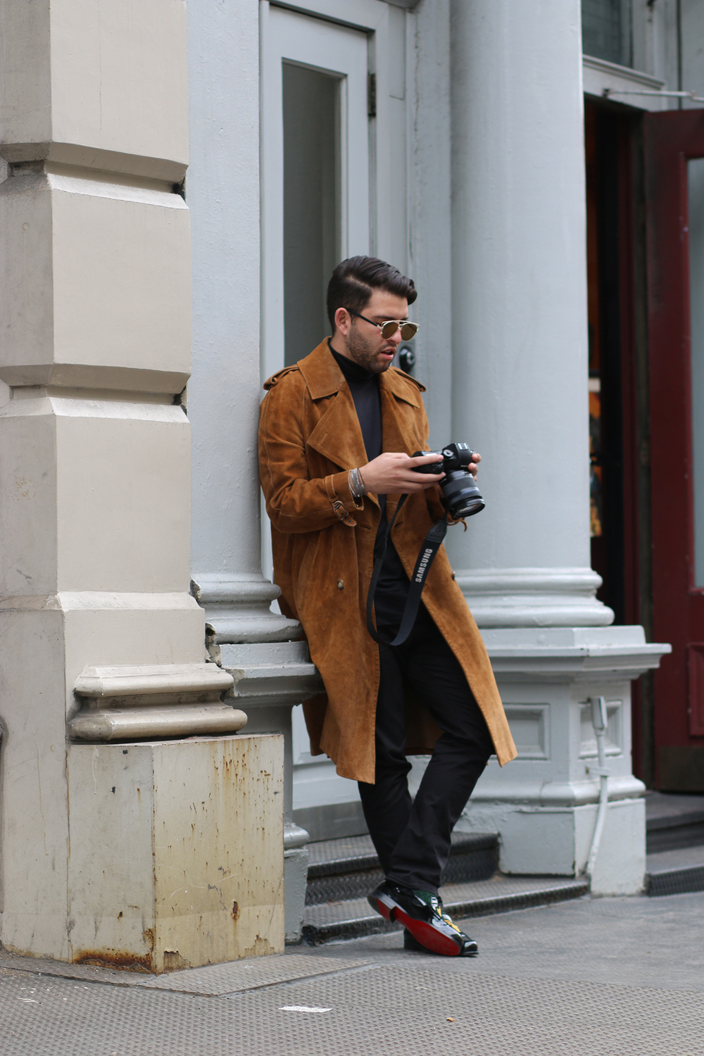 Vintage Gucci Coat/ Dior Sunglasses/ Christian Louboutin Loafers