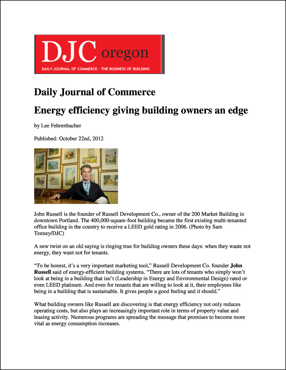 Daily Journal of Commerce 10222012