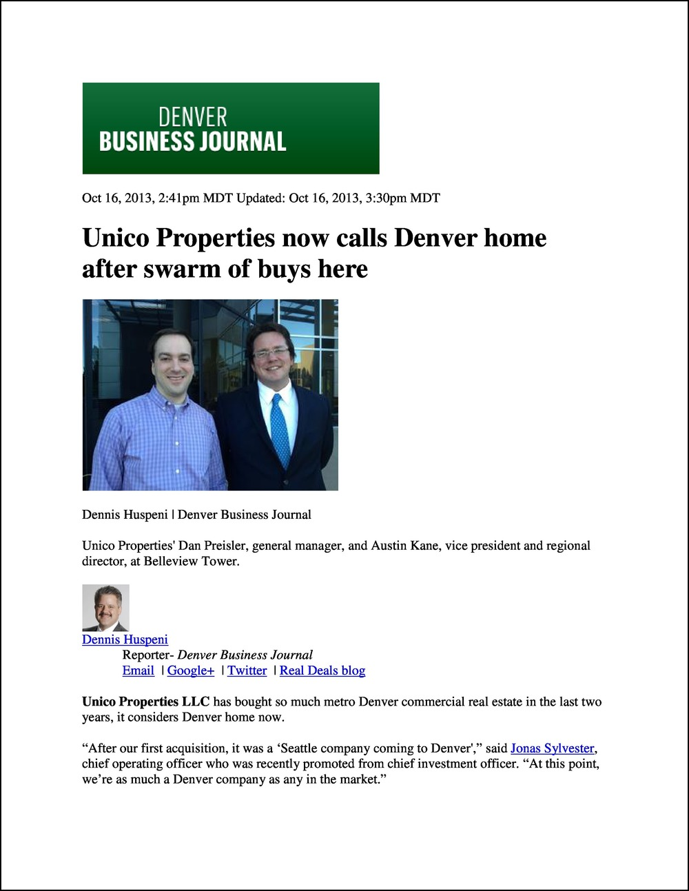 Denver Business Journal 10162013