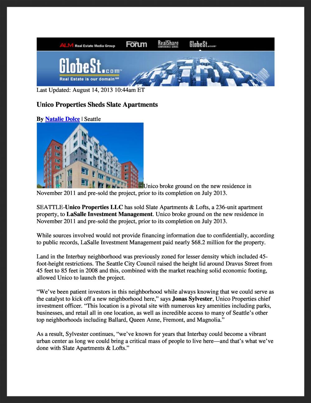 UNICO   GlobeSt.com   08.14.2013