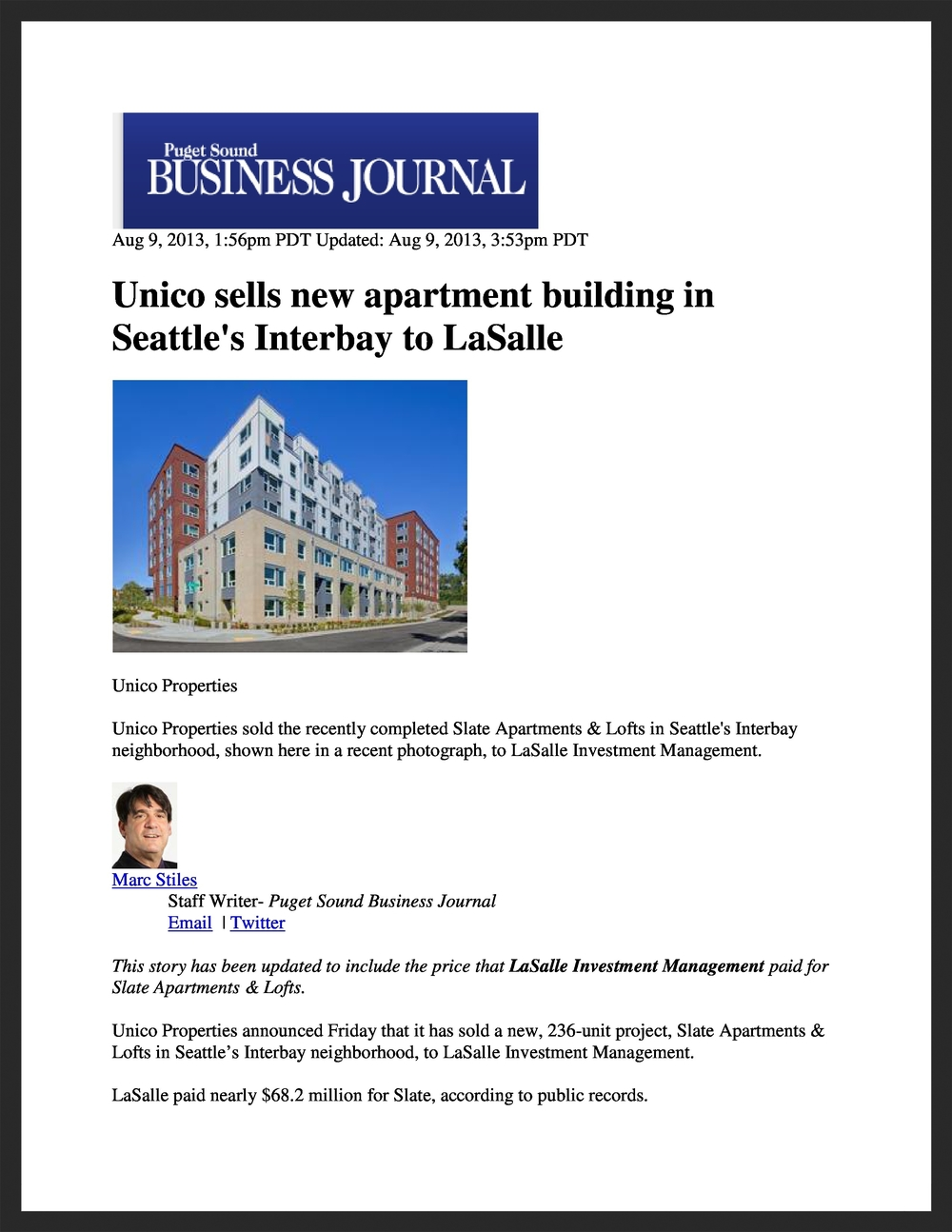 UNICO  Puget Sound Business Journal  08.09.2013