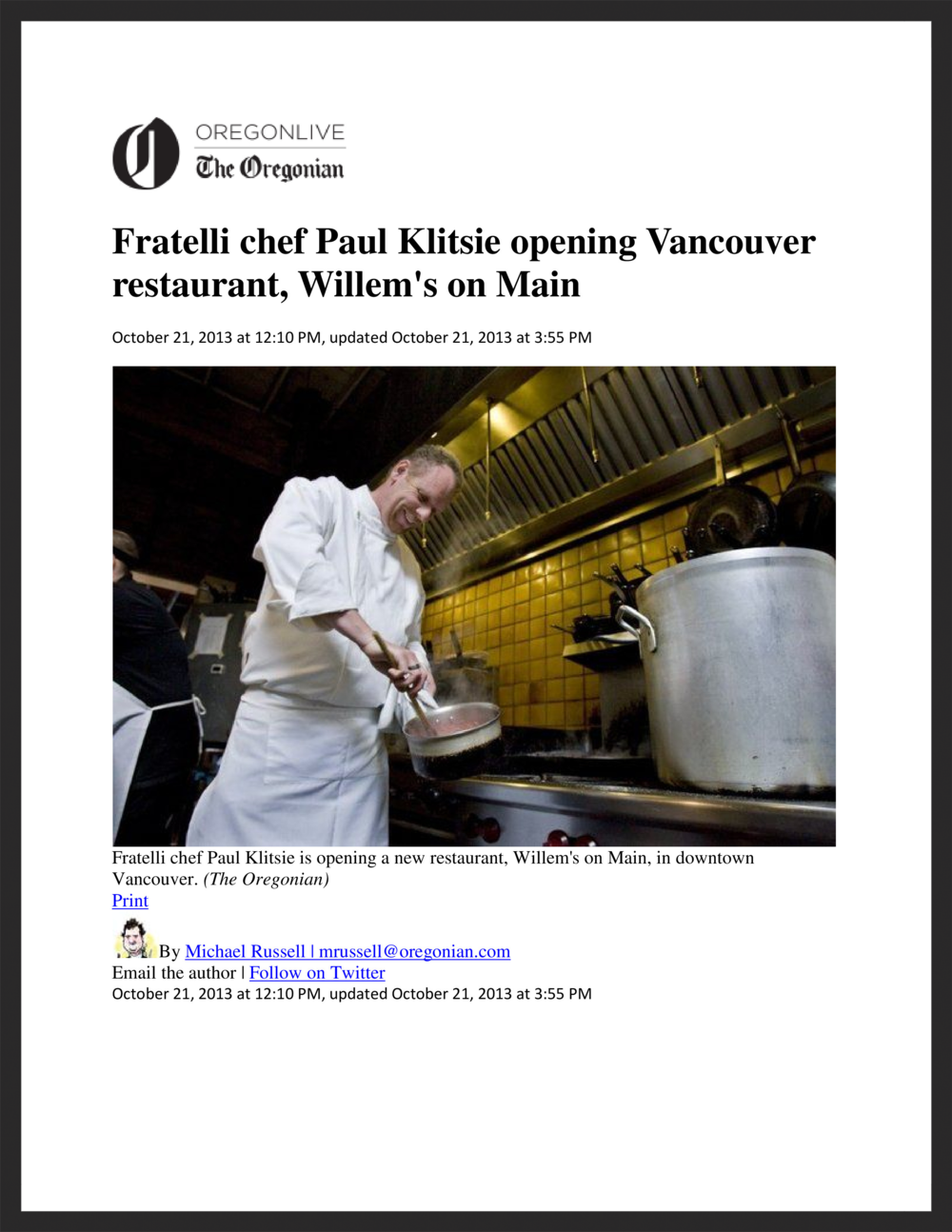 WILLEM'S ON MAIN  The Oregonian  10.21.2013