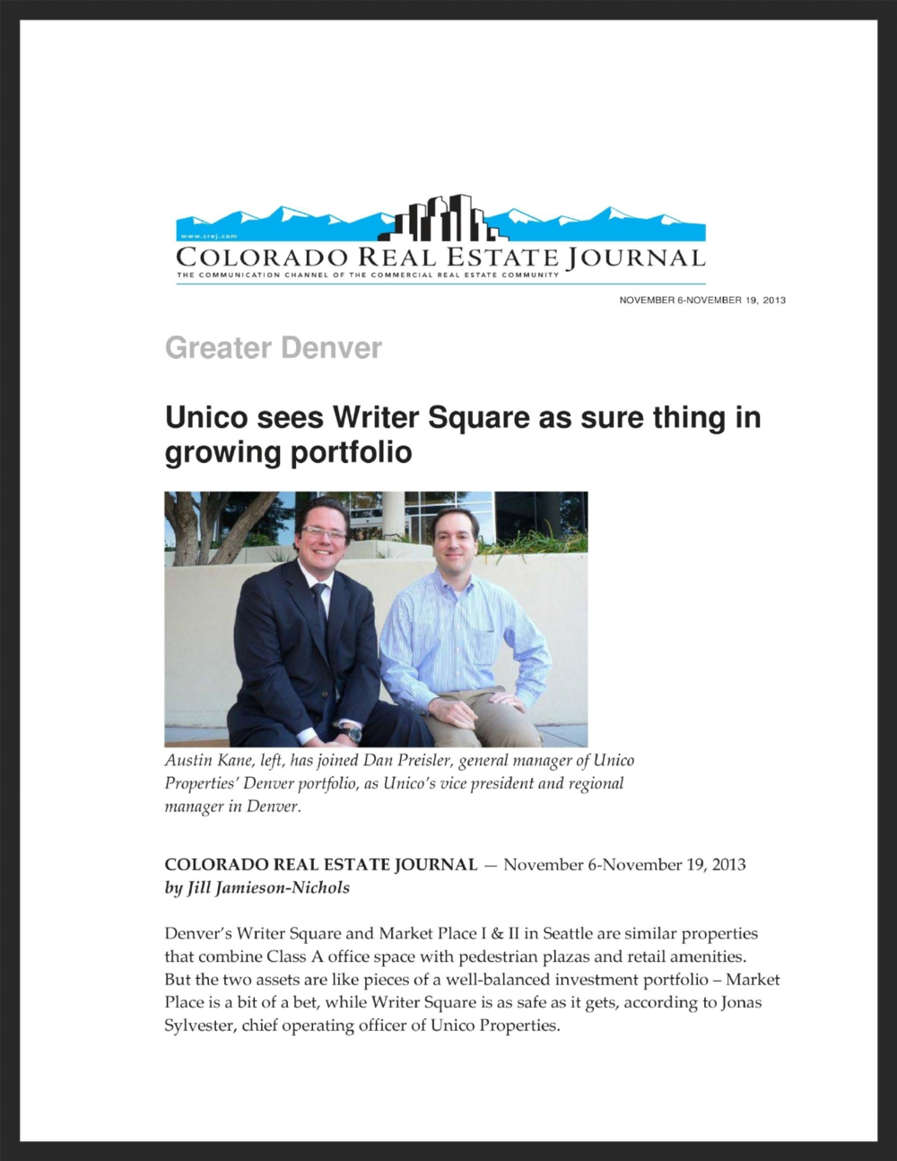 UNICO   Colorado Real Estate Journal   11.06.2013