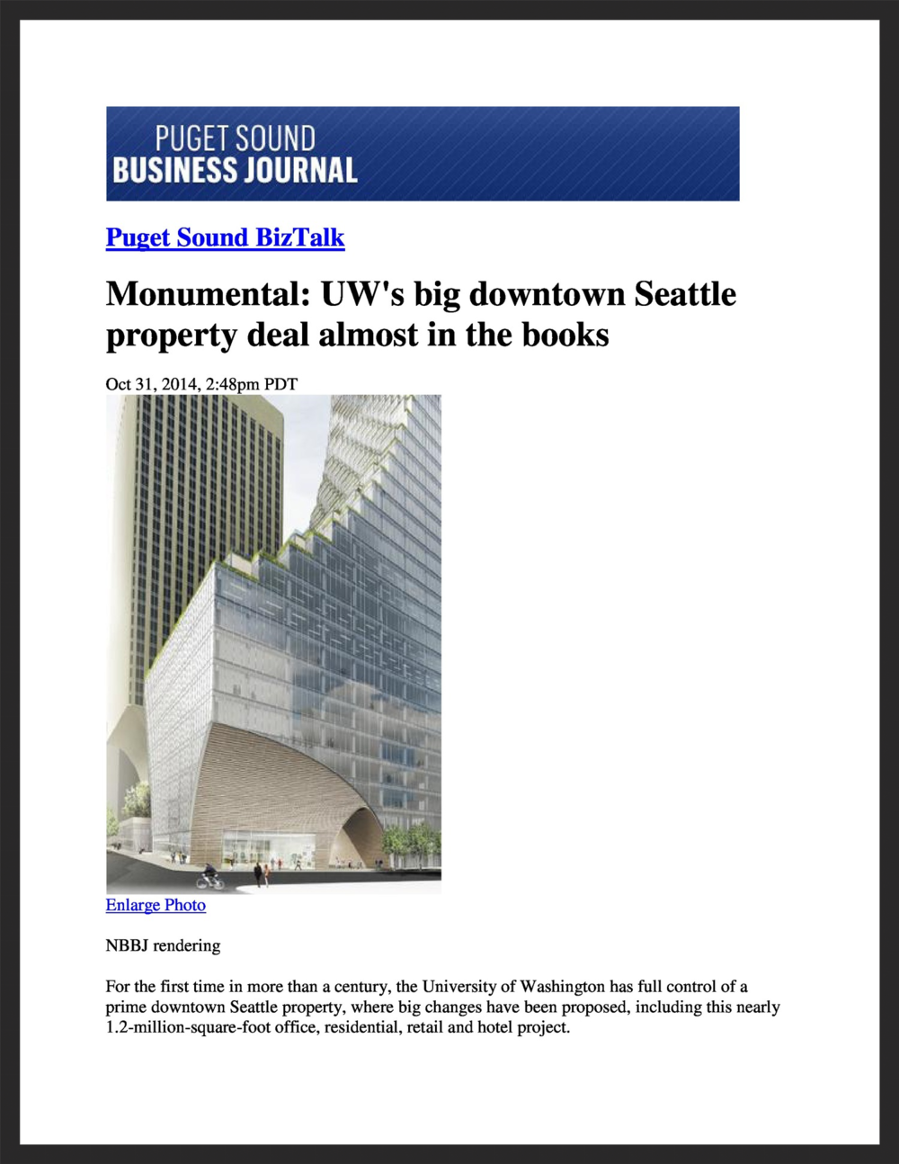 UNICO  Puget Sound Business Journal  10.31.2014