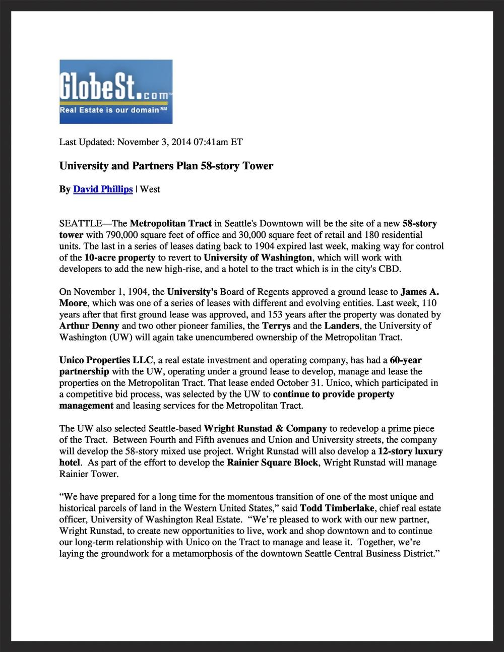 UNICO  GlobeSt.com  11.03.2014