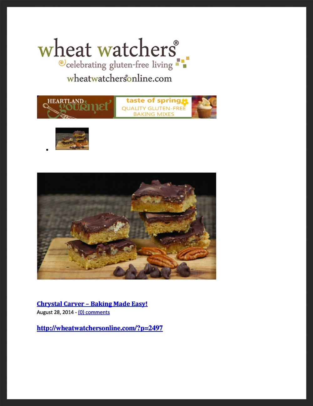 CHRYSTAL CARVER  Wheat Watchers  08.28.2014