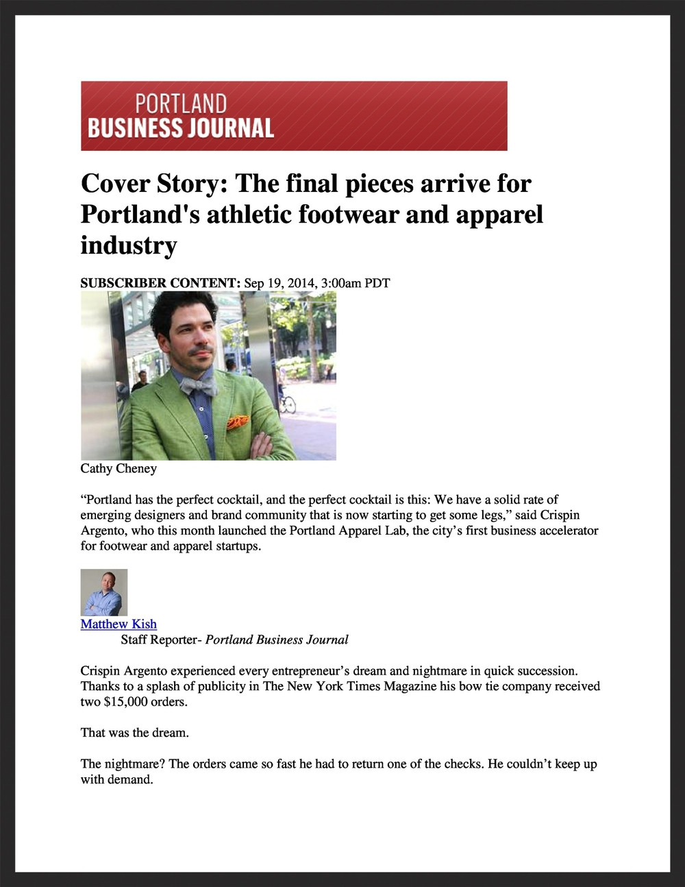 PORTLAND SEWING  Portland Business Journal  09.19.2014