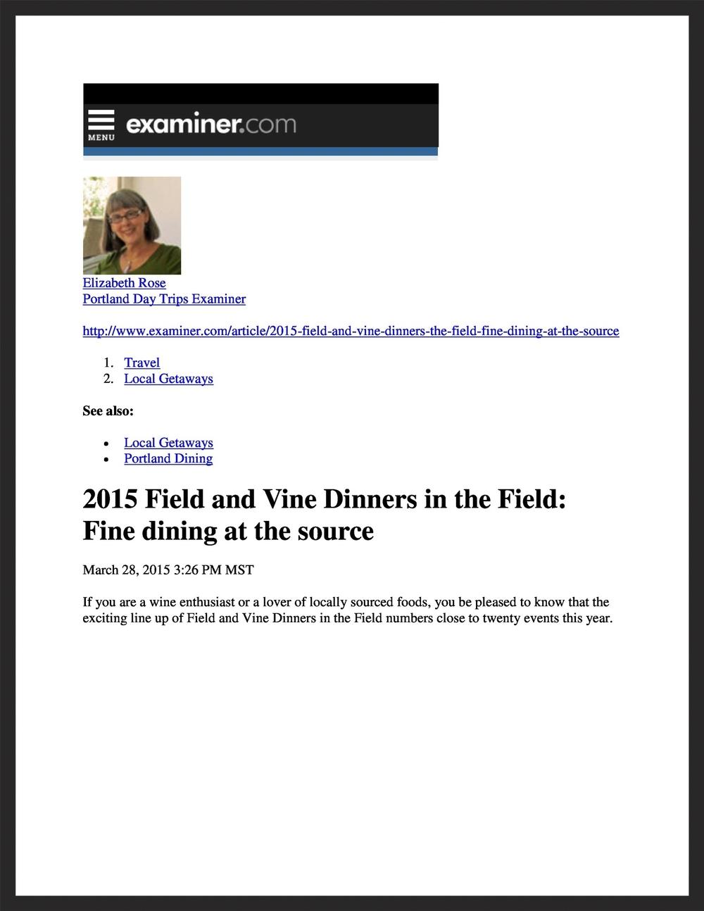 FIELD &VINE  Examiner.com  03.28.2015
