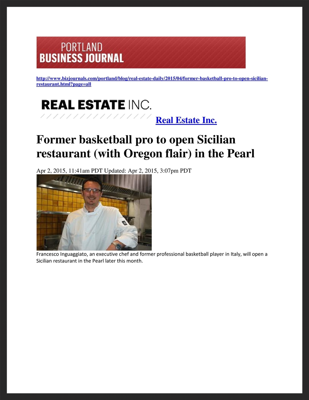BELLINO TRATTORIA SICILIANA   Portland Business Journal  04.02.2015