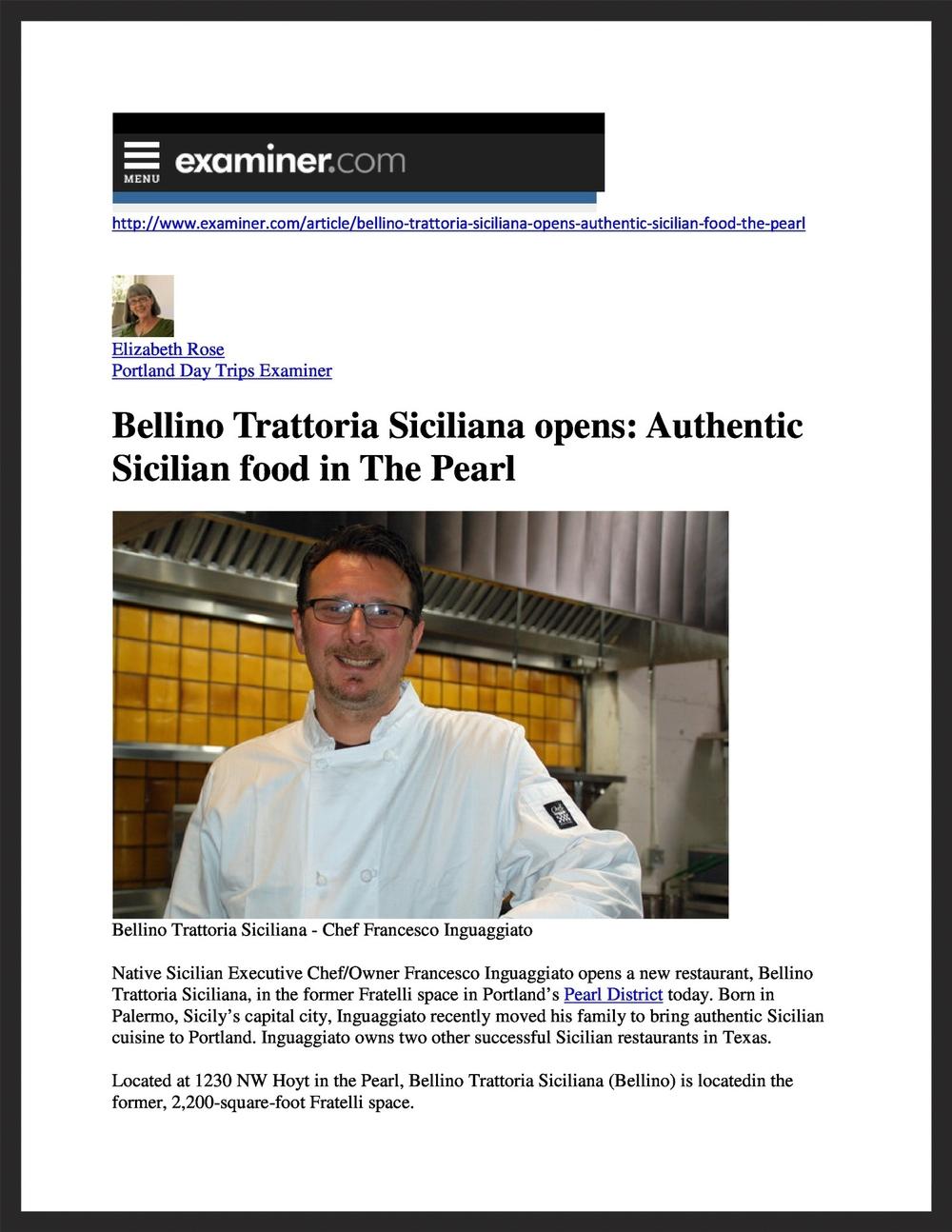 BELLINO TRATTORIA SICILIANA  Examiner.com  04.14.2015