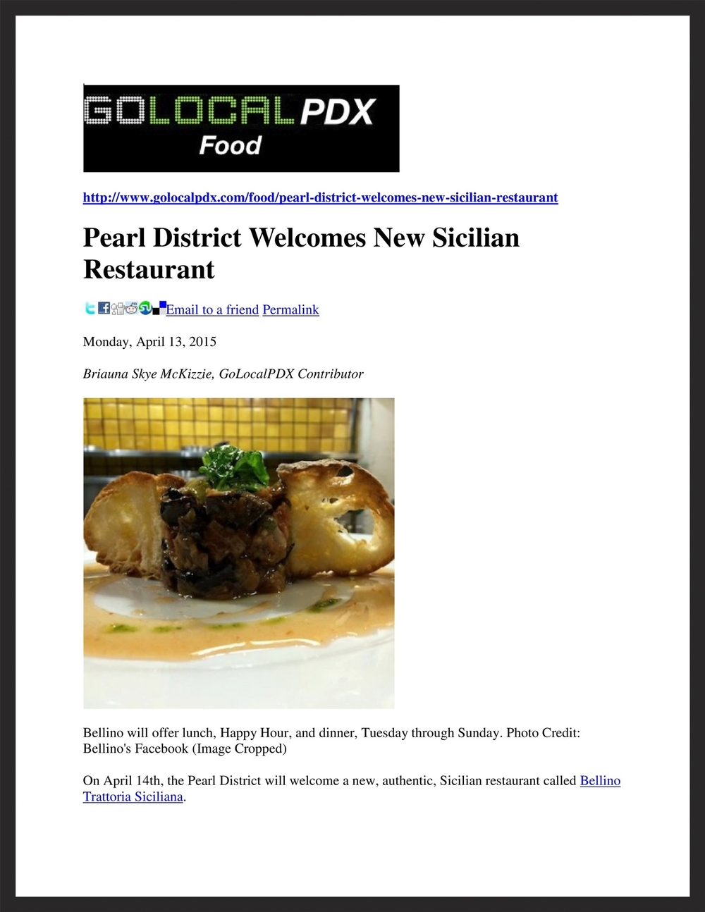 BELLINO TRATTORIA SICILIANA   Go Local PDX  04.13.2015