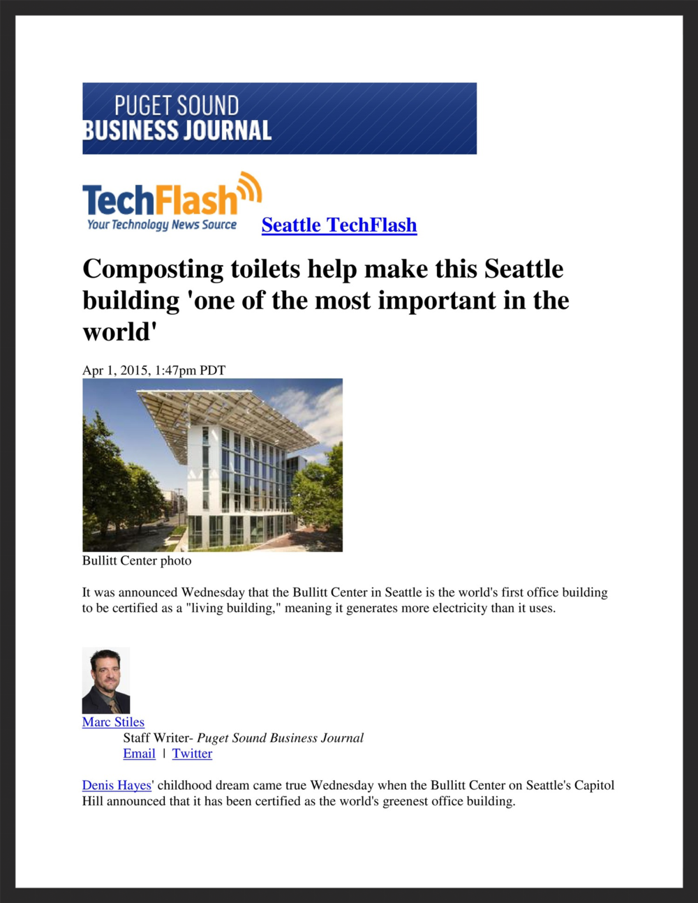 UNICO  Puget Sound Business Journal  04.01.2015
