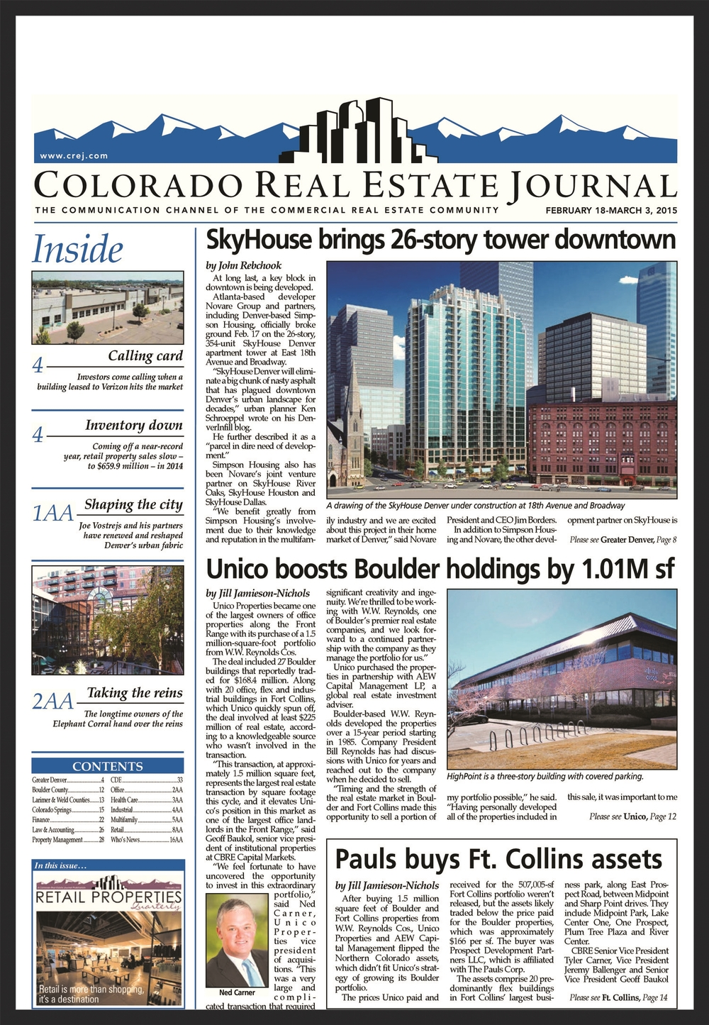 UNICO  Colorado Real Estate Journal  02.18.2015