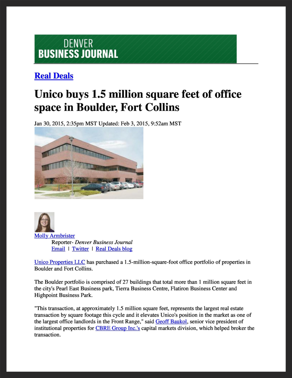 UNICO  Denver Business Journal  01.30.2015
