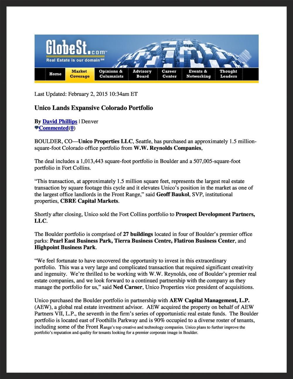 UNICO  GlobeSt.com  02.02.2015