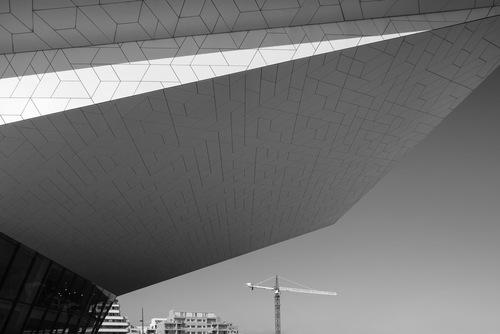 amsterdam modern architecture facade ij black white mark