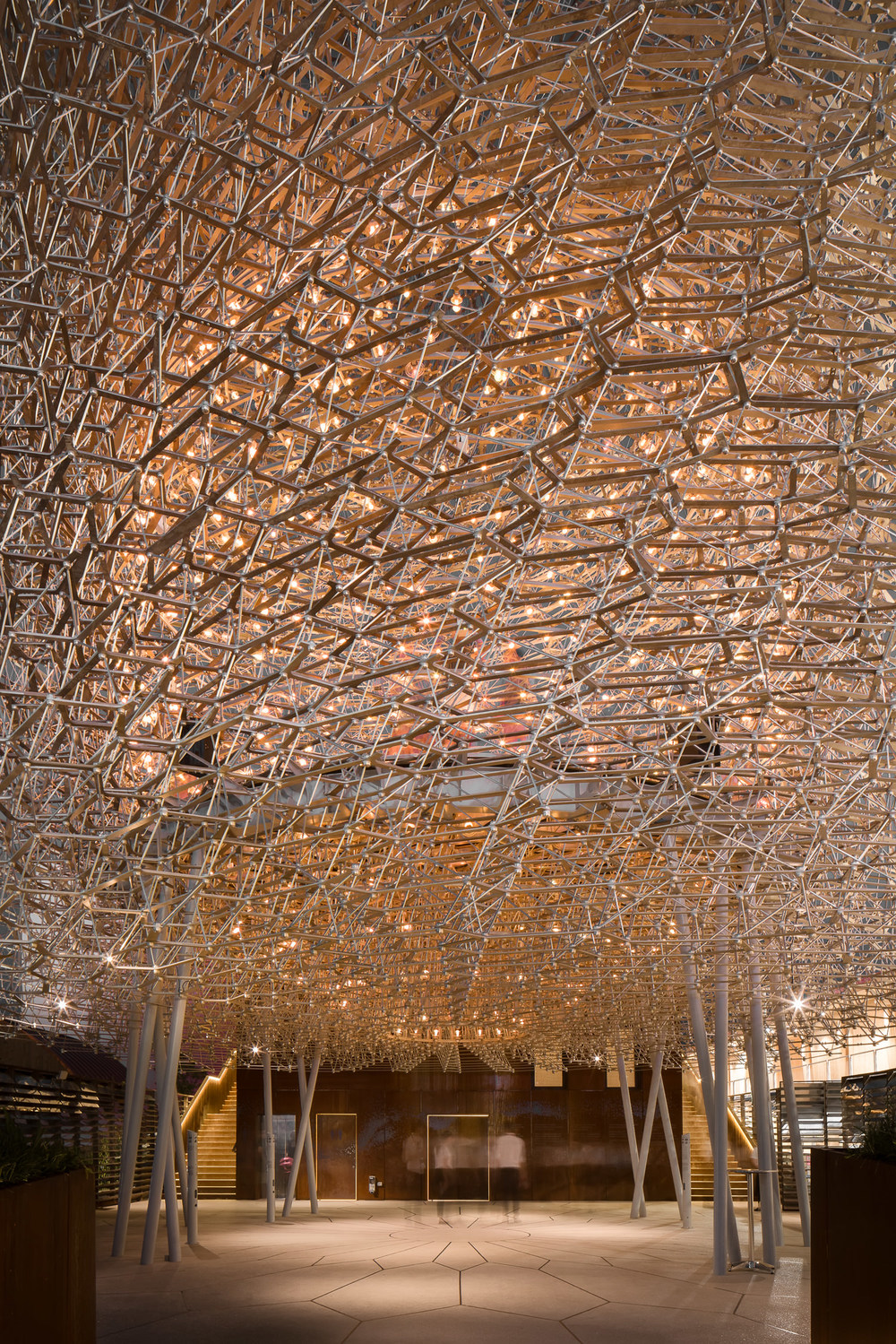 people under the uk pavilion, milan expo, mark hadden and wolfgang buttress