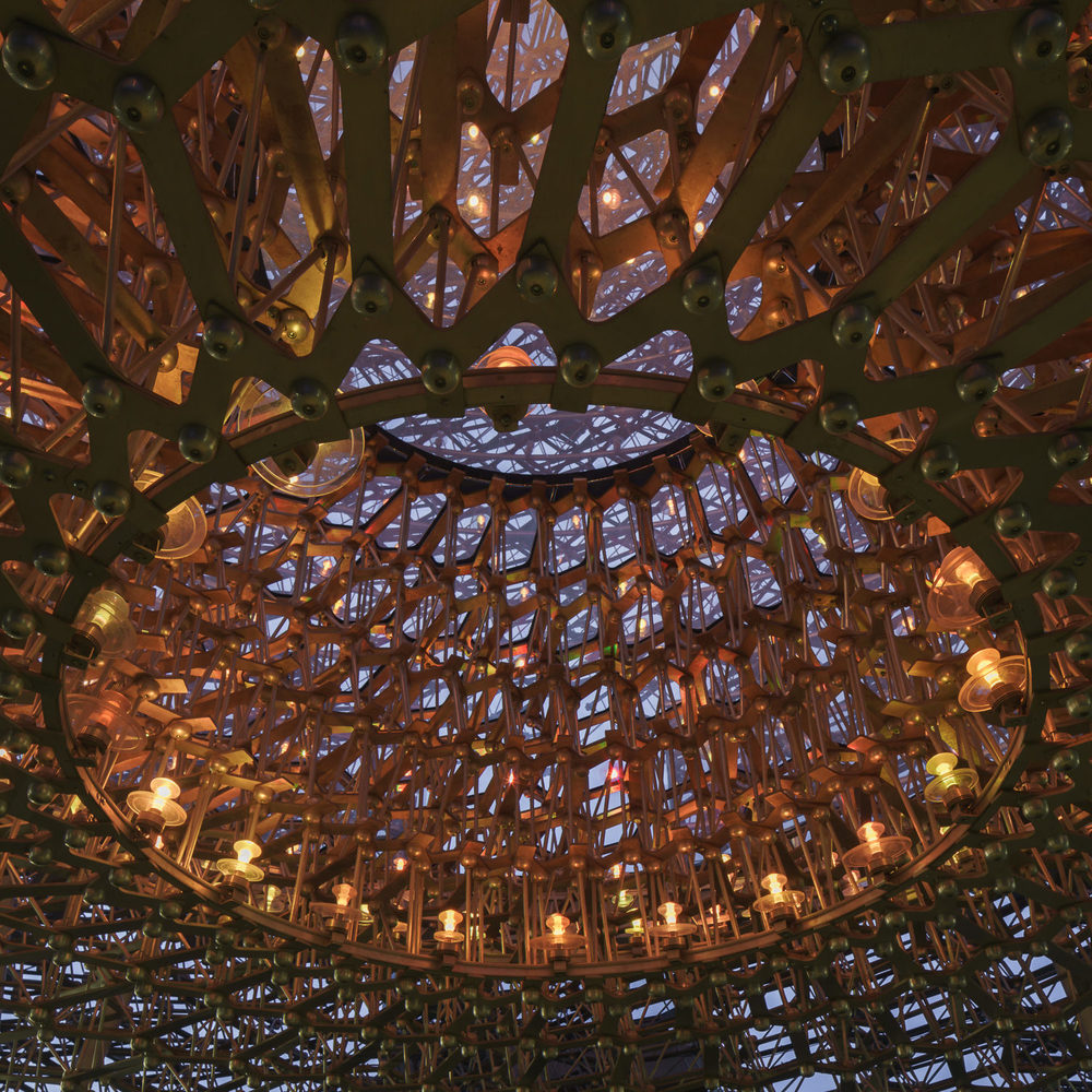 Night structure at The Hive, Kew Gardens. Mark Hadden Architecture Photographer