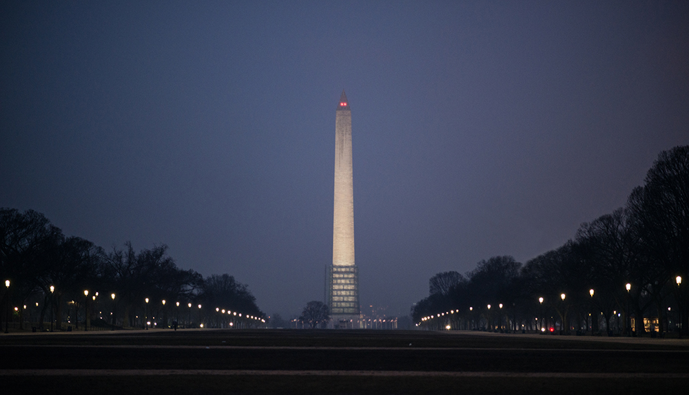 Washington D.C.: Washington Monument on a rainy night
