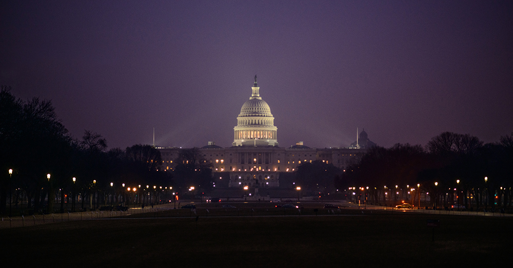Washington D.C.: United States Capitol Building on a rainy night