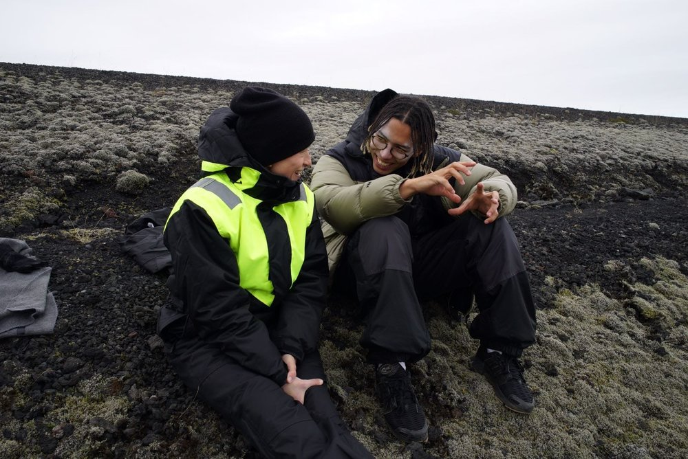 Sara & Sebastian in between shooting on Iceland.