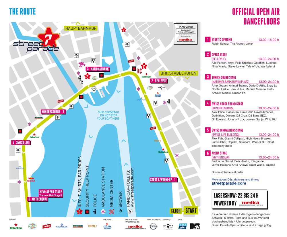 Route der Love-Mobiles und Zeiten der 6 Live Stage Bühnen. (Bild :  Streetparade.ch ) -CLICK TO ENLARGE