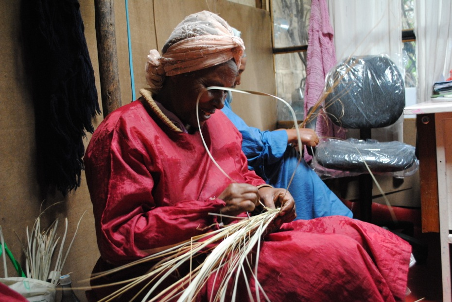 Basket weaving in Addis Ababa, Ethiopia.