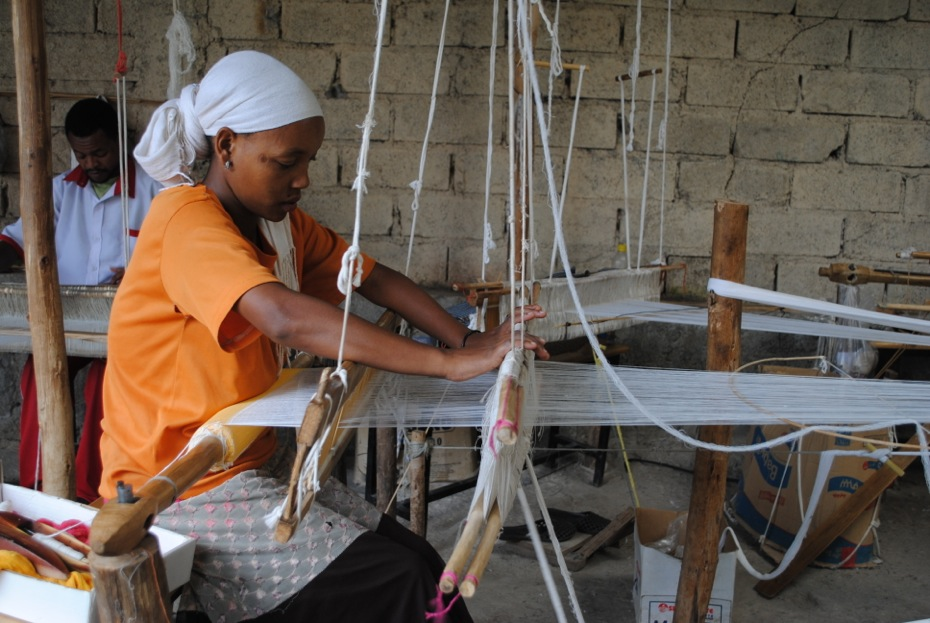 Creating our gorgeous scarves in Addis Ababa, Ethiopia.